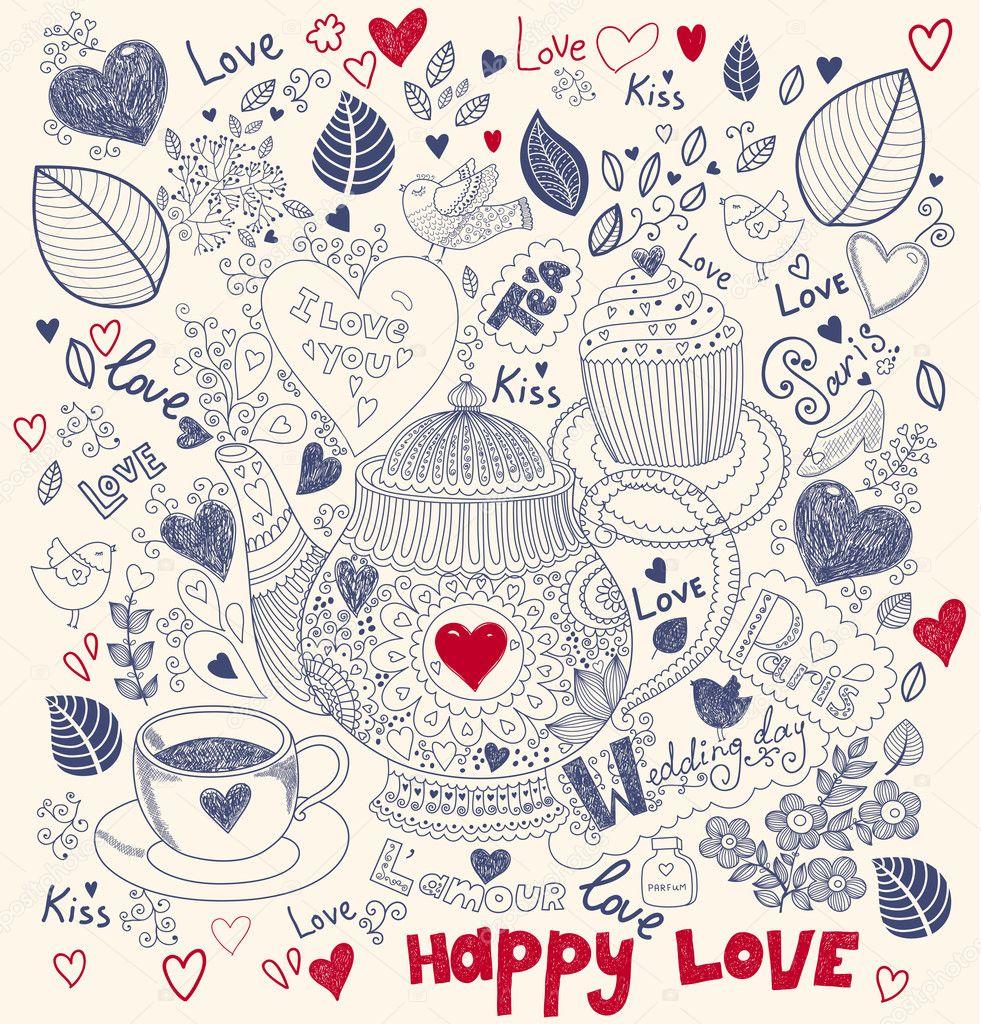 矢量艺术手绘节日贺卡与蛋糕和茶壶