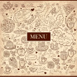 Vintage background with hand drawn elements for design menu — Stock Vector