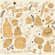Vector background with symbols of food France - Stock Vector