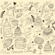 Vector background with symbols of food France - Imagen vectorial