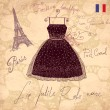 Vector hand drawn vintage illustration with symbols of french fashion - Stock Vector
