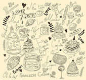 Vector background with symbols of food France — Stock Vector