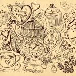 Vector hand drawn illustration with tea pot — Stock Vector
