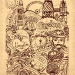 Vector ilustración dibujado con símbolos de Londres de la mano — Vector de stock