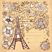 Vector hand drawn illustration with Eiffel tower — Stock Vector