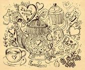 Vetorial mão ilustrações desenhadas com bule de chá — Vetor de Stock