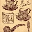 Vector hand drawn illustration with antique accessories — 图库矢量图片