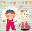Happy Birthday card. Boy with toys — Imagen vectorial
