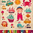 Vector set of cartoon stickers: boy and toys — Stock Vector