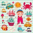 Vector set of cartoon stickers: boy and toys — Stock Vector #20945543