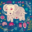 Holiday card with elephant - Stok Vektr