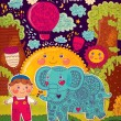 Vector illustration with elephant and boy — Stock Vector