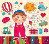 Happy Birthday card. Boy with toys — Stock Vector