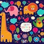 Vector set of cartoon stickers with animals — Stock Vector #20953631
