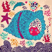 Underwater world. Vector cartoon illustration — Stock Vector
