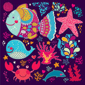 Vector wallpaper con peces y vida marina — Vector de stock