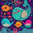Royalty-Free Stock Vector Image: Vector cartoon illustration with fish