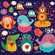 Royalty-Free Stock Imagen vectorial: Vector set of cartoon stickers with animals