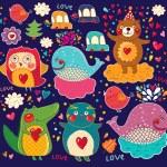 Vector set of cartoon stickers with animals — Stock Vector #20979479