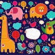 Vector set of cartoon stickers with animals — Imagen vectorial