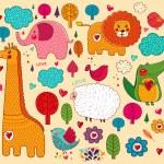 Vector set of cartoon stickers with animals — Stock Vector #20979739