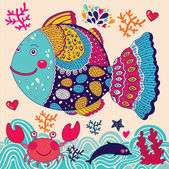 Cartoon vector illustration with fish — Vetorial Stock