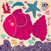 Cartoon vector illustration with fish — Stock Vector