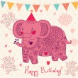 Holiday card with elephant - Stockvectorbeeld