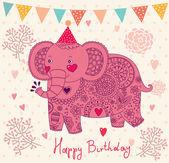 Carte de vœux avec éléphant — Vecteur