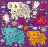 векторный мультфильм шаблон с слонов — Cтоковый вектор