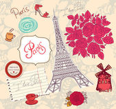 Vector set of Paris symbols. Vector pattern — Stock Vector