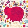 Holiday card with elephant - Imagen vectorial