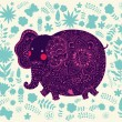 Holiday card with elephant - Image vectorielle