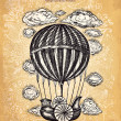 Vector hand drawing balloon with clouds - Imagen vectorial