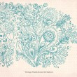 Vintage card with hand drawn floral ornament — Stockvectorbeeld