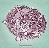 花飾りの要素を持つ描かれた魚を手します。 — ストックベクタ