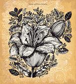Vecteur main dessinée illustration vintage avec des fleurs — Vecteur