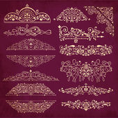 Vector collection of detailed vintage borders, ornaments and elements of decoration — Stock Vector