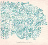 Vintage card with hand drawn floral ornament — Stock Vector