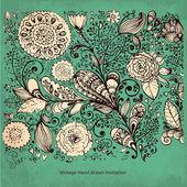 Vektor detaillierte florales muster mit blumen auf hintergrund — Stockvektor