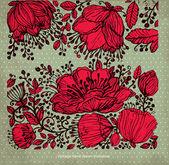 Vektor detaljerad blommönster med blommor på bakgrund — Stockvektor