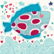 Cartoon funny fish — Imagen vectorial