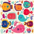 Colorful stylized funny fishes — Stok Vektör