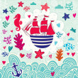 Cartoon sail ship — Imagen vectorial