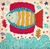 Cartoon funny fish — Stock Vector