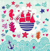 Cartoon sail ship — Stock Vector