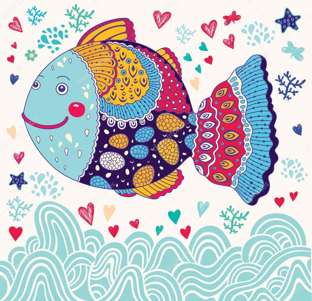 Dibujos animados divertidos peces — Vector de stock © Molesko ...