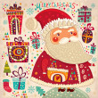 Merry Christmas and Happy New Year card with Santa — Imagen vectorial