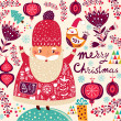 Merry Christmas card with Santa — Stock Vector #34055941