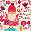 Merry Christmas card with Santa — Stock Vector